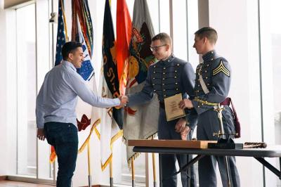 Chase Antony '18 accepts his award for 3rd place at the Model UN conference at the U.S. Military Academy. – VMI Photo courtesy of Ryan Nagatoshi '18.